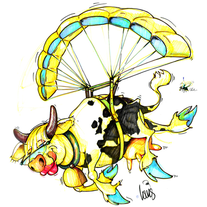 Drawing paragliding cow